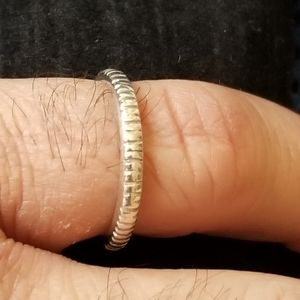 Vintage Sterling Silver Notched Ring